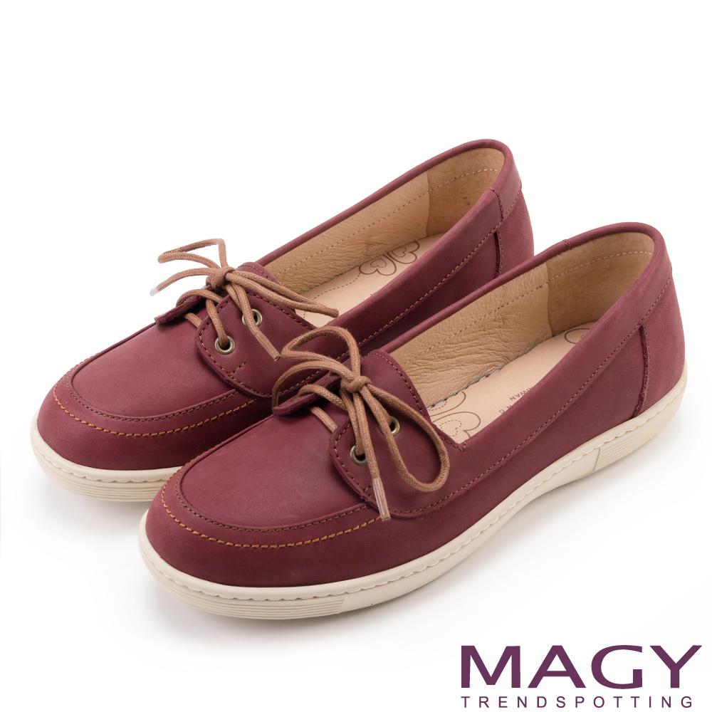 MAGY 綁帶麂皮平底 女 休閒鞋 紅色