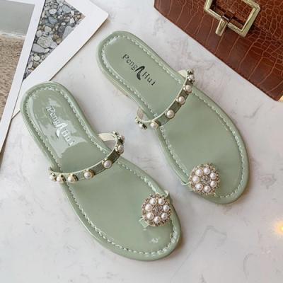 KEITH-WILL時尚鞋館 名媛華艷珍珠拖鞋-綠