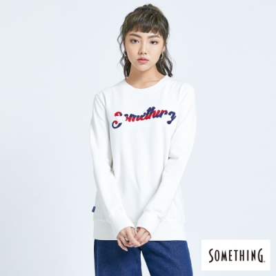 SOMETHING 撞色刺繡 厚長袖T恤-女-白色