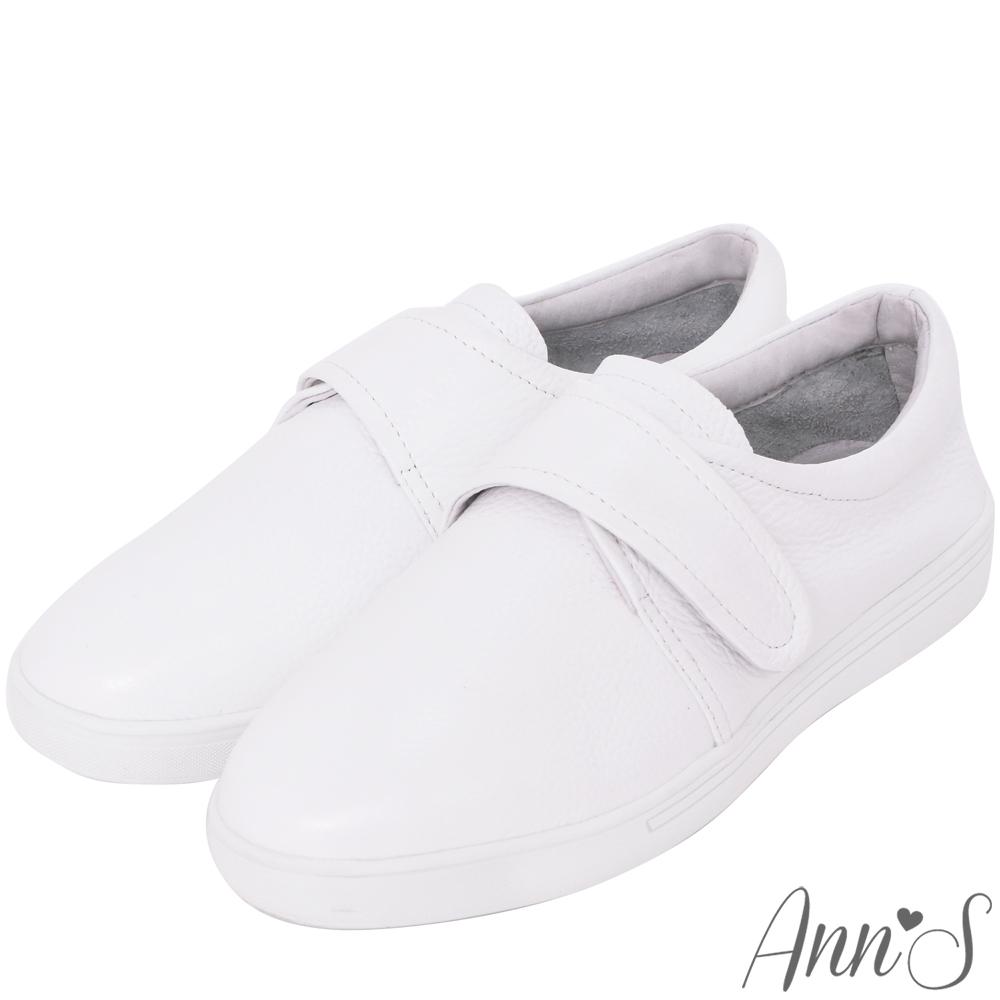 Ann'S第二代超軟真牛皮簡單魔鬼氈小白鞋
