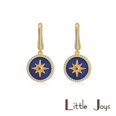 Little Joys 原創設計品牌 寶石藍六芒星耳環 925銀鍍金