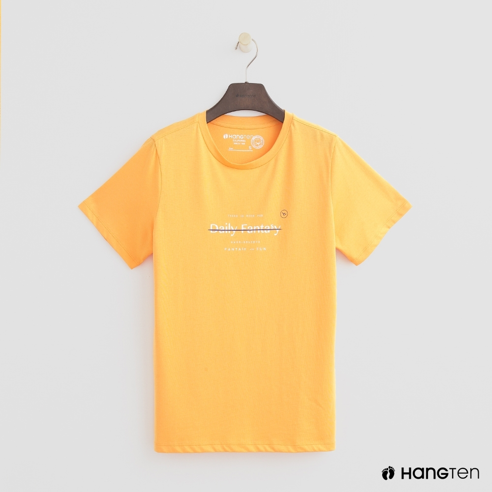 Hang Ten - 女裝 - 有機棉-簡約純色英文字T桖 - 黃