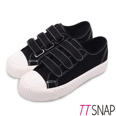 TTSNAP餅乾鞋-細緻帆布三層魔鬼氈厚底鞋 黑