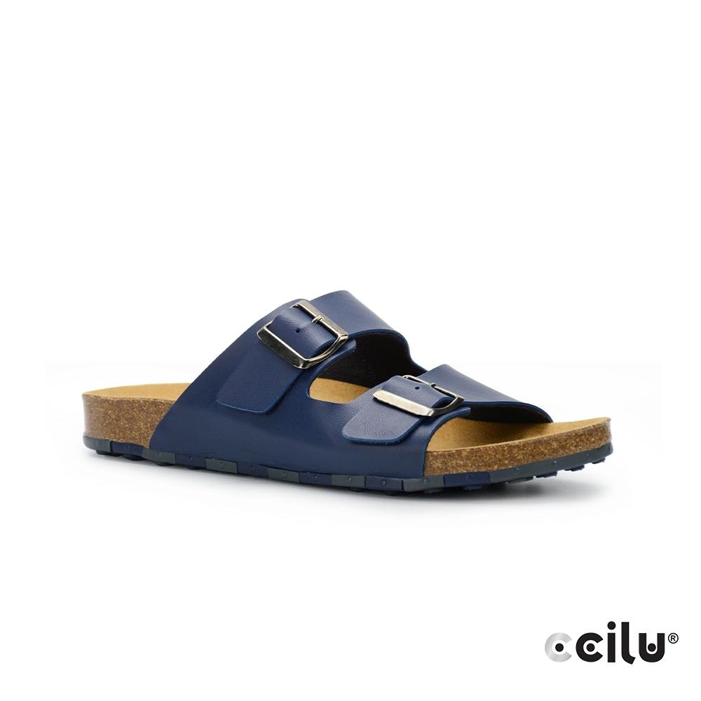 CCILU 雙帶皮革平底拖鞋-男款-801001004藍色