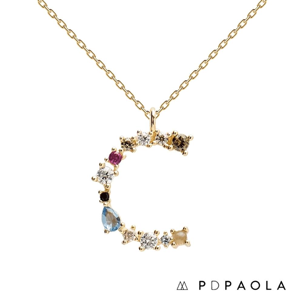 PD PAOLA 西班牙輕奢時尚品牌 字母C 彩鑽寶石項鍊