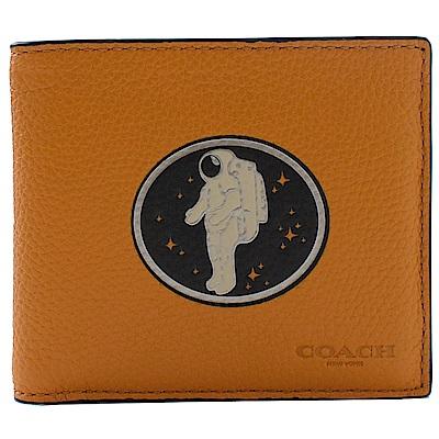 COACH NASA系列太空人荔枝牛皮八卡短夾(橘橙)
