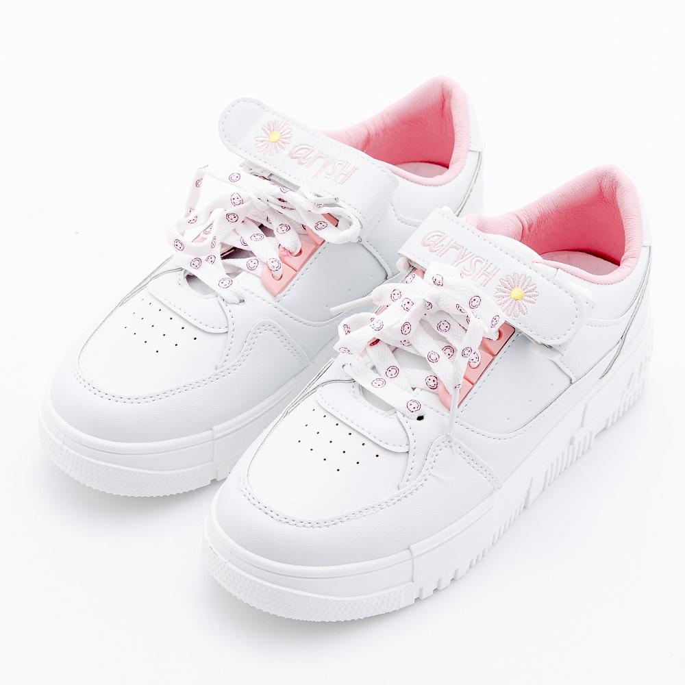 River&Moon大尺碼36-42微笑小菊厚底休閒小白鞋 粉色