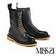 短靴 MISS 21 街頭帥氣步調牛皮綁帶厚底馬丁短靴-黑 product thumbnail 1