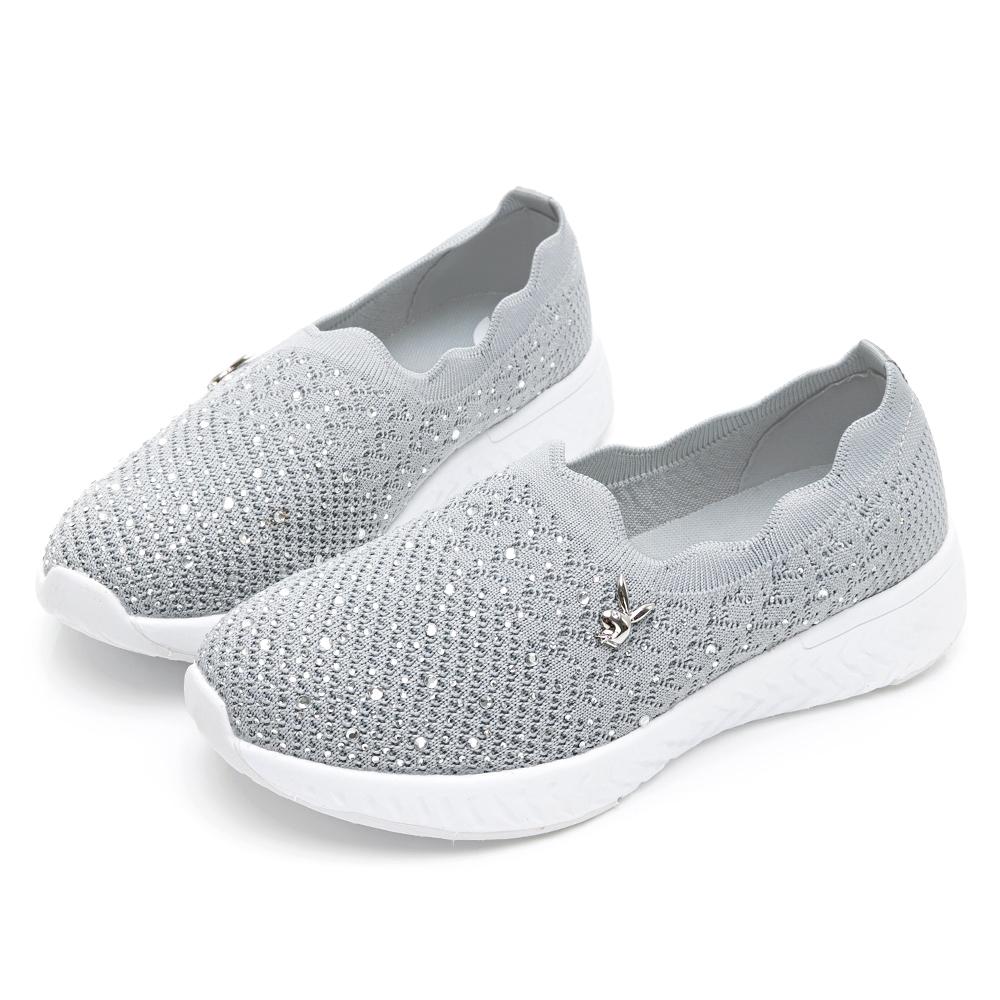 PLAYBOY 銀河美鑽 襪套休閒鞋-灰-Y672922