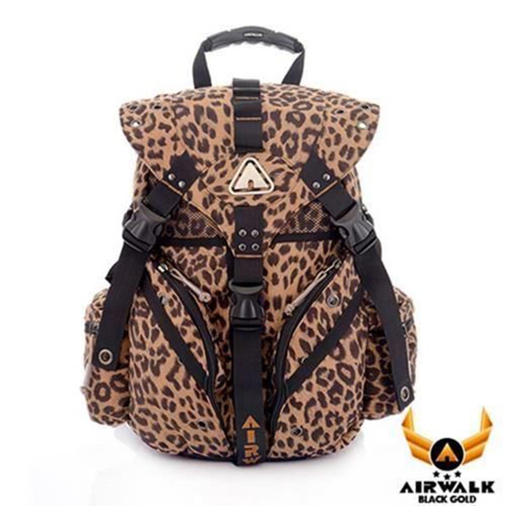 【AIRWALK】黑金系列-豹紋後背包-大黃豹紋