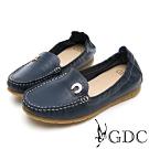 GDC-真皮舒適素色基本小鐵扣車線休閒鞋-藍色
