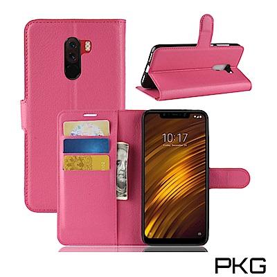 PKG 小米Pocophone F1側翻式-精選皮套-經典款式-玫紅