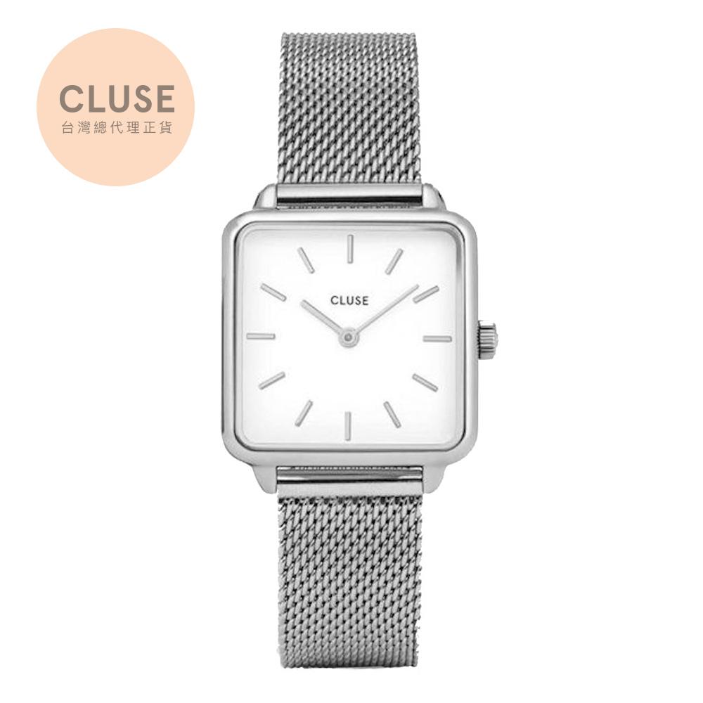 【公司貨】CLUSE La Tetragone 方框系列腕錶 (銀框/白面/銀米蘭帶)
