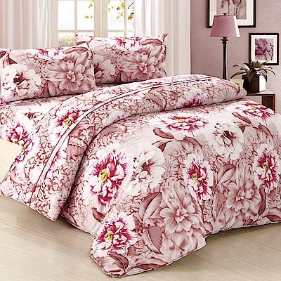 棕紫花-柔絲絨加大四件式兩用被床包組