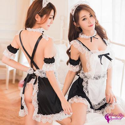 Sexy Cynthia女僕裝黑白圍裙式女僕角色扮演服六件組-黑白F