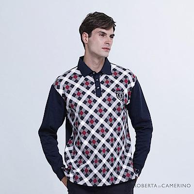 ROBERTA諾貝達 台灣製 潮流型男 跳色方格紋長袖POLO棉衫  暗紅