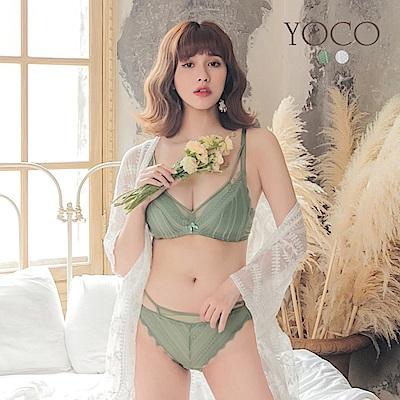 東京著衣-YOCO蕾絲網紗波浪邊內衣組-36.38.34.32(共兩色)