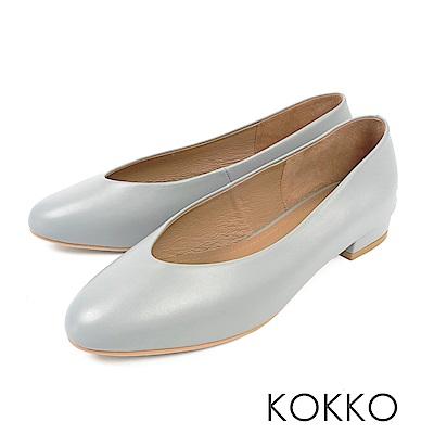 KOKKO - 蒙布朗之約手工全真皮平底鞋-輕透藍