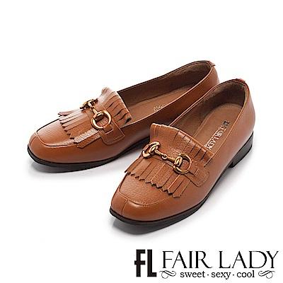 FAIR LADY 有一種喜歡是早秋-高雅流蘇馬銜扣樂福鞋 棕