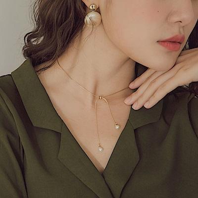 細緻質感珍珠綴飾可調節式項鍊-OB大尺碼