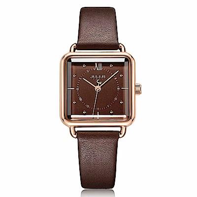 JULIUS聚利時 羅馬紀事方形皮革錶帶腕錶-咖啡色/26mm