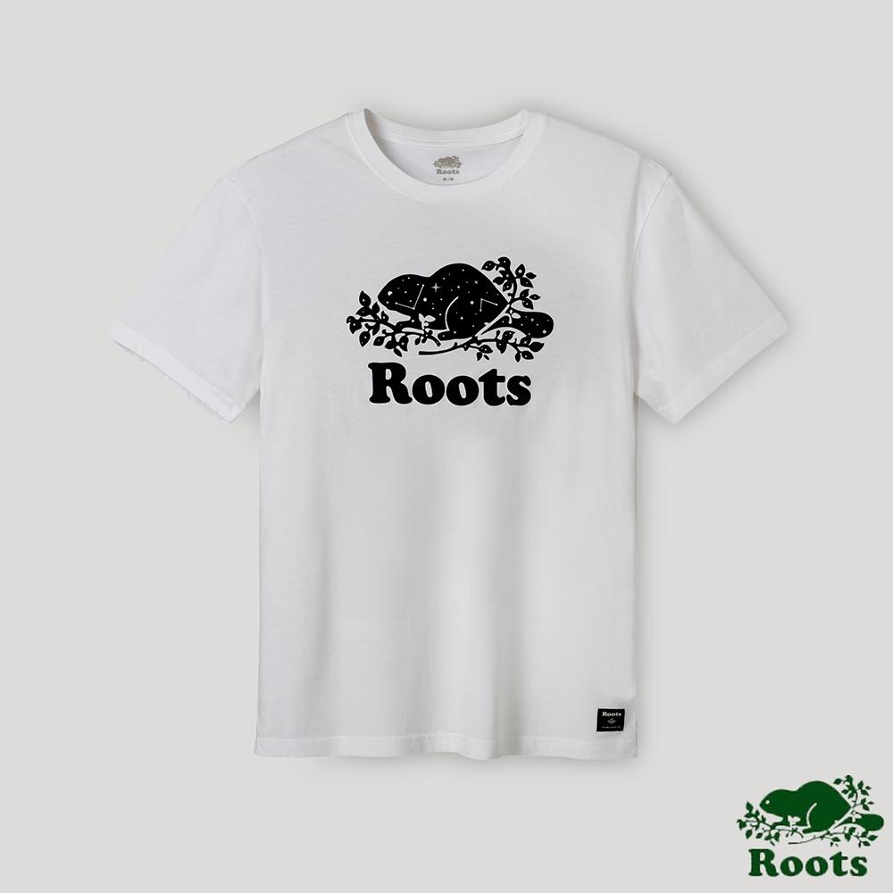 Roots男裝-璀璨銀河系列 星座海狸LOGO短袖T恤-白色