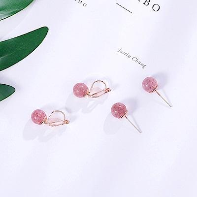 梨花HaNA 無耳洞/耳針款韓國甜蜜草莓晶球球耳環