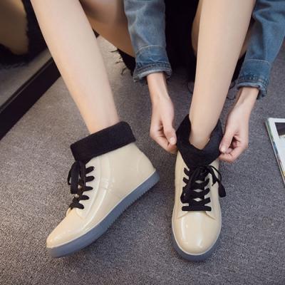 KEITH-WILL時尚鞋館 鞋帶好穿綁帶雨鞋雨靴短靴-卡其