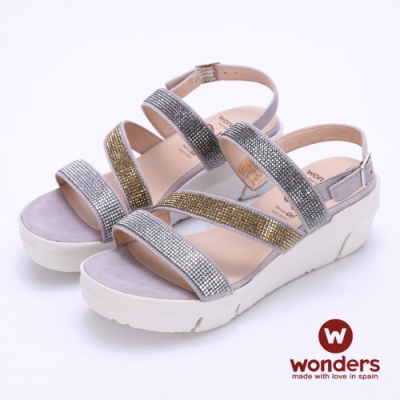 WONDERS西班牙進口 FLY系列 三色亮麗水鑽後帶楔型涼鞋-銀色