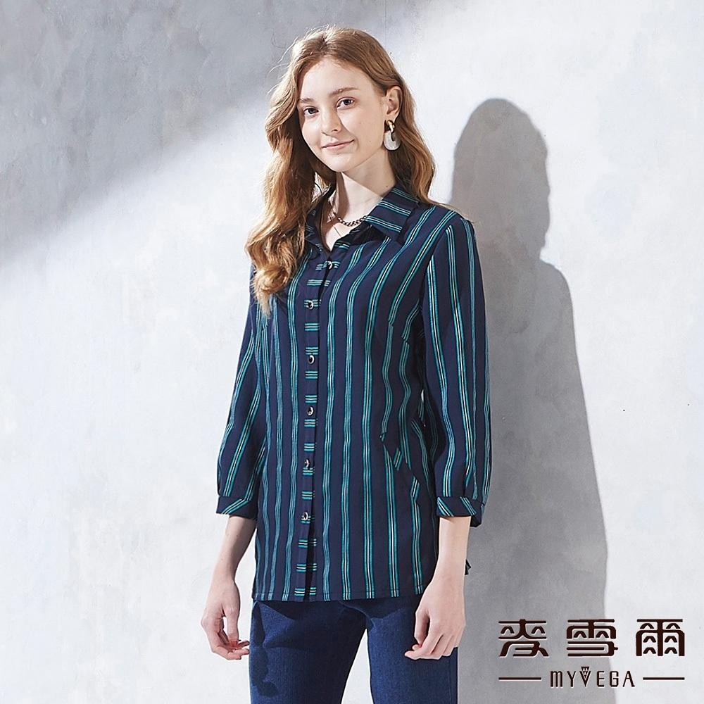 麥雪爾 條紋七分袖造型上衣-深藍