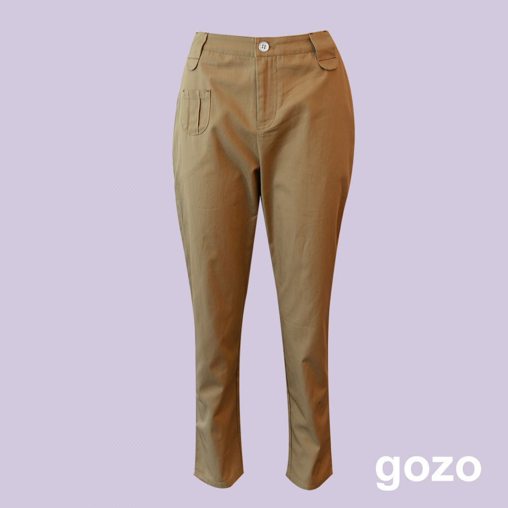 gozo 設計口袋棉質直筒工作褲(二色)
