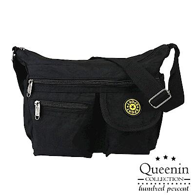 DF Queenin - 尼龍風潮不敗經典防潑水側背包-黑色