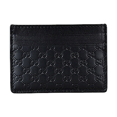 GUCCI經典Guccissima系列MINI雙G壓紋LOGO牛皮卡片夾(黑)