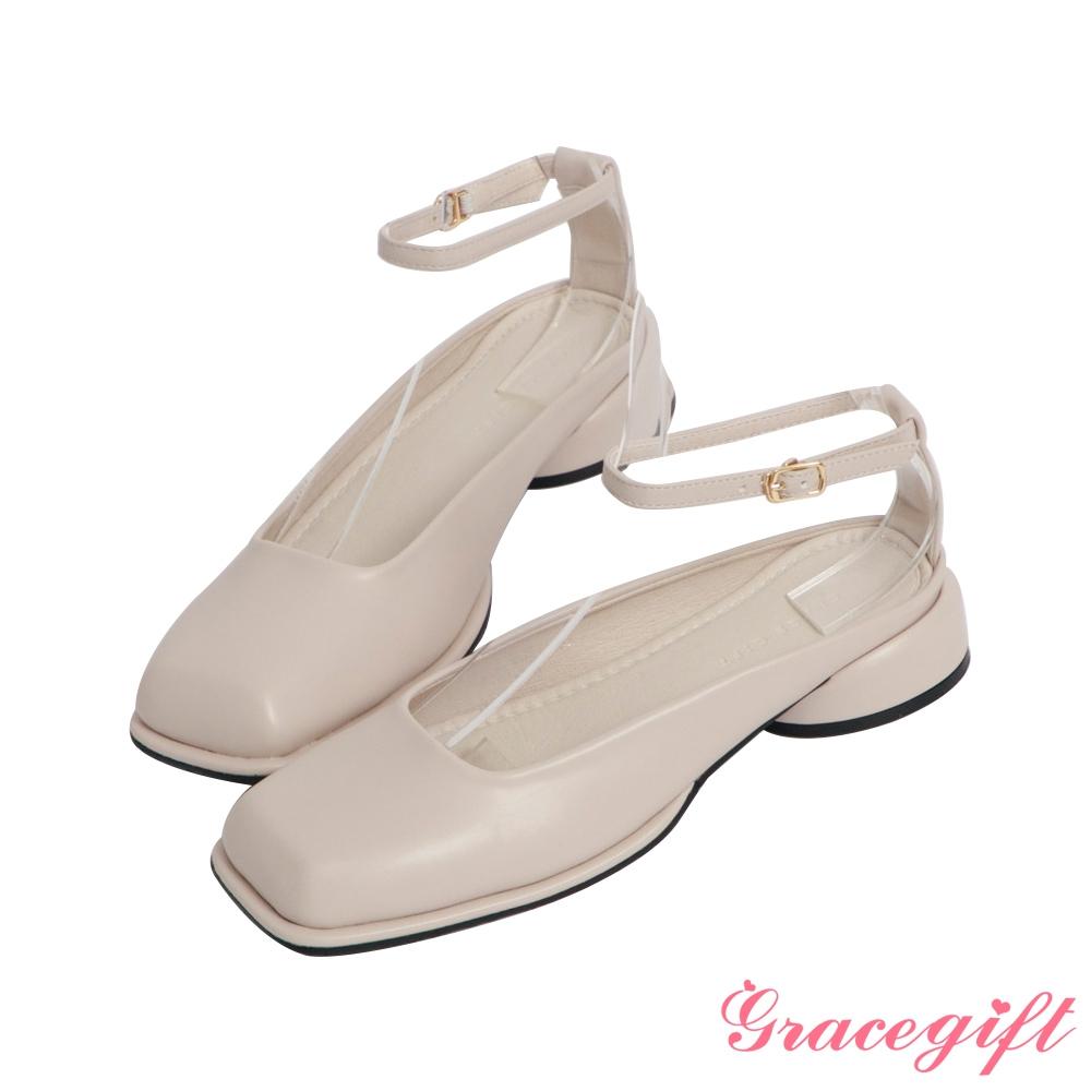 Grace gift-方頭繫帶後空低跟穆勒鞋 米白