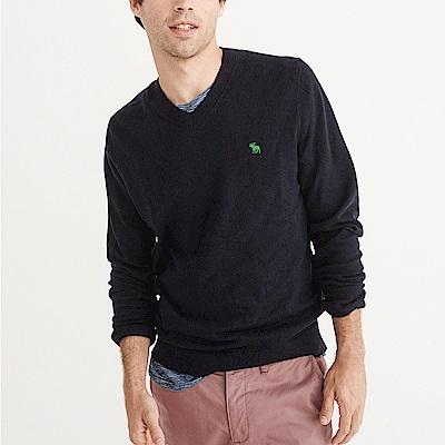 麋鹿 AF A&F 經典麋鹿刺繡標誌毛衣-深藍色