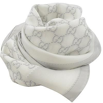 GUCCI 染織LOGO絲綢大方巾/披肩(灰白)