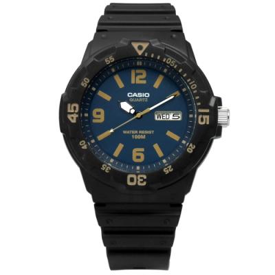 CASIO 卡西歐 前衛運動休閒橡膠手錶 藍x黑 MRW-200H-2B3 43mm