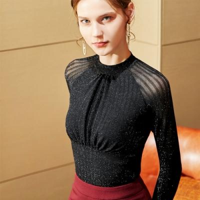 專注內搭-小高領薄版閃光絲內搭長袖性感褶皺亮絲收腰上衣(S-3XL可選)