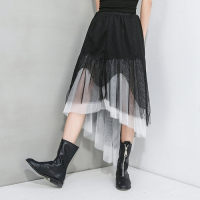 個性鬆緊腰拼接波浪網紗不規則半身裙F(共二色)-CLORI
