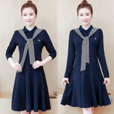 【韓國K.W.】(預購)韓時尚典雅條紋洋裝-2色