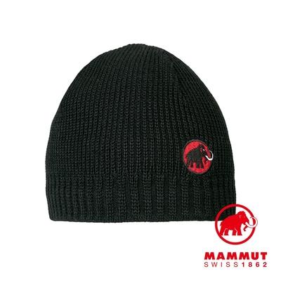 【Mammut 長毛象】Sublime Beanie 刺繡LOGO保暖羊毛帽 黑色 #1191-01542