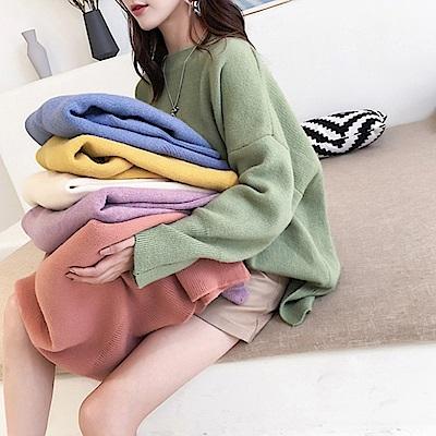 La Belleza素面馬卡龍色圓領拼接下擺開叉包心紗針織長版毛衣