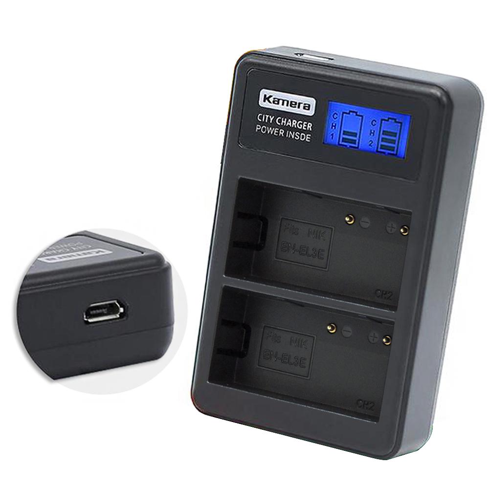 Kamera佳美能 液晶雙槽充電器for Nikon EN-EL3E (一次充兩顆電池)