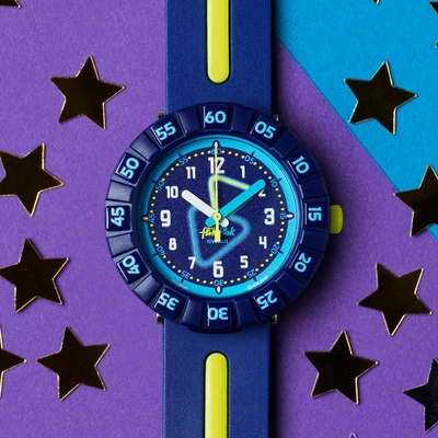 FlikFlak 兒童錶 YELLOW TUBE 螢光三角-36.7mm