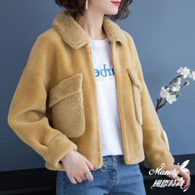 Mandy國際時尚 外套 冬 大口袋寬鬆短款仿水貂毛外套(3色)  【韓國服飾】