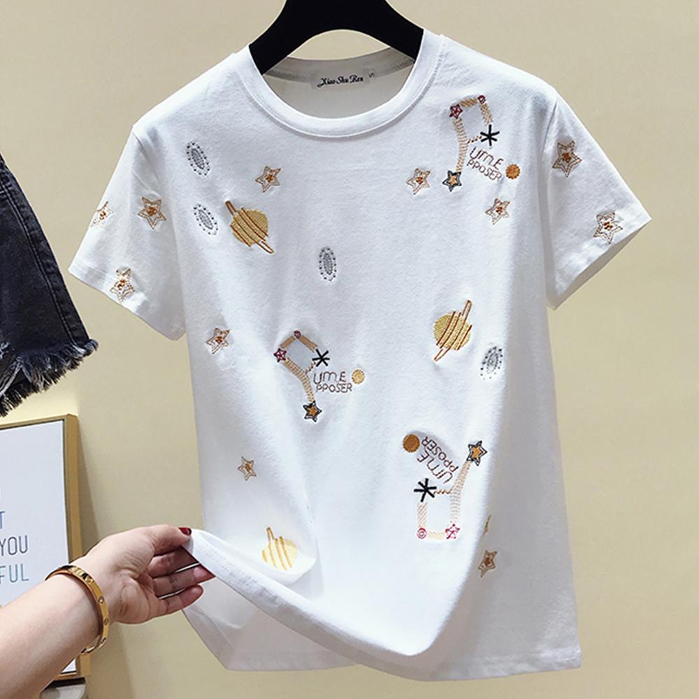 初色  星空世界刺繡T恤-共2色-(M-XL可選)