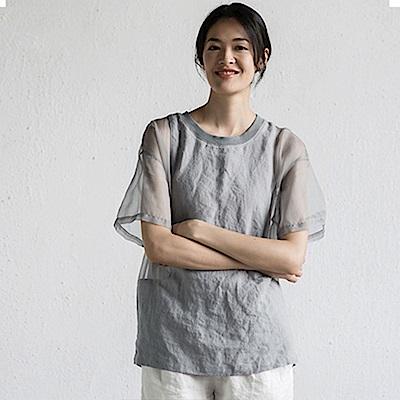 旅途原品_細風_原創設計輕運動亞麻網紗拼接短T-黑/紫灰