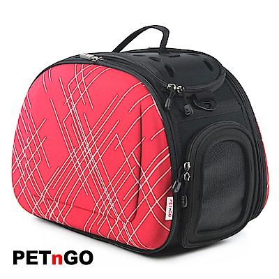 PETnGO 新款輕巧摺疊寵物提包-紅色交叉線