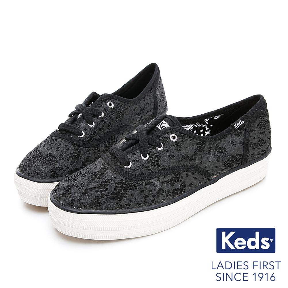 Keds TRIPLE 蕾絲緹花厚底綁帶帆布鞋-黑