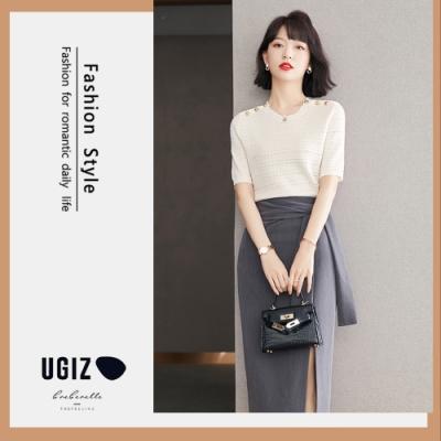 UGIZ-修身輕熟款圓領釘珠坑條造型上衣-米白色(M-XL)